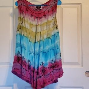 8e5dc762382 no brand Tops - Tie Dye Embroidered tank top plus size